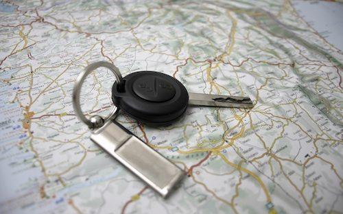 Car keys on the map