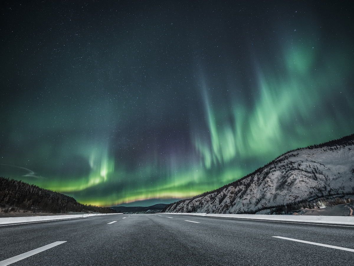 Road with Northern Lights